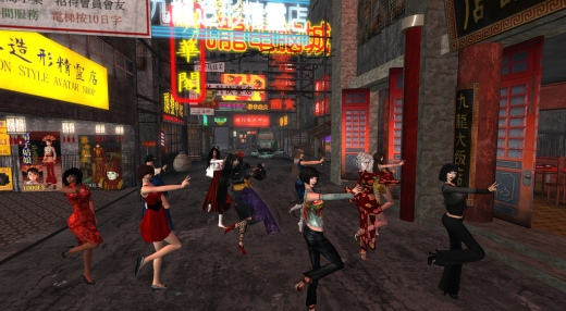 Dancing for the One Billion Rising in SL video (image courtesy of One Billion Rising In SL and Scheherazade Storyteller)