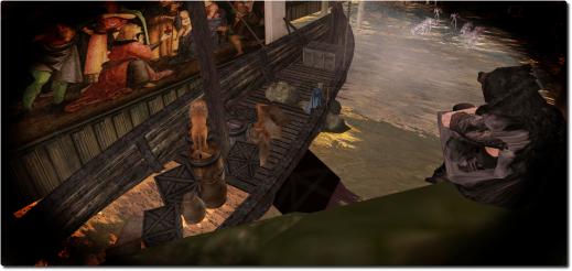 <i>Adam (watching on the right) is shown a vision of Noah's Ark. Original image courtesy of Inara Pey.</i>