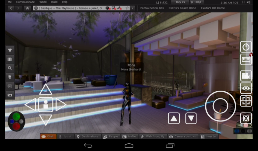 At the Bar Moderna, on Becky and Harvey's Basilique sim. The UI overlays for movement and camera control are visible.