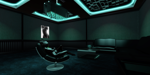 <i>This whole room has been enhanced with materials - normal and specular maps on the walls and the turquoise crystals of the ceiling  light, specular maps used everywhere else. And it's further enhanced through the use of projected lighting.</i>
