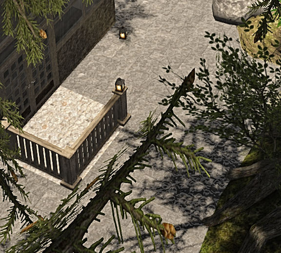 "Liara Okiddo's ""The Botanique"". Observe the raindrops on the stone pavement; normal maps are used, besides the diffuse (texture) maps, and they are animated for a truly exquisite effect - provided, of course, that your graphics card can handle it."