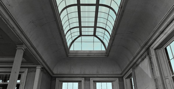 The skylight. Note the pre-baked shadows on its wooden frame.