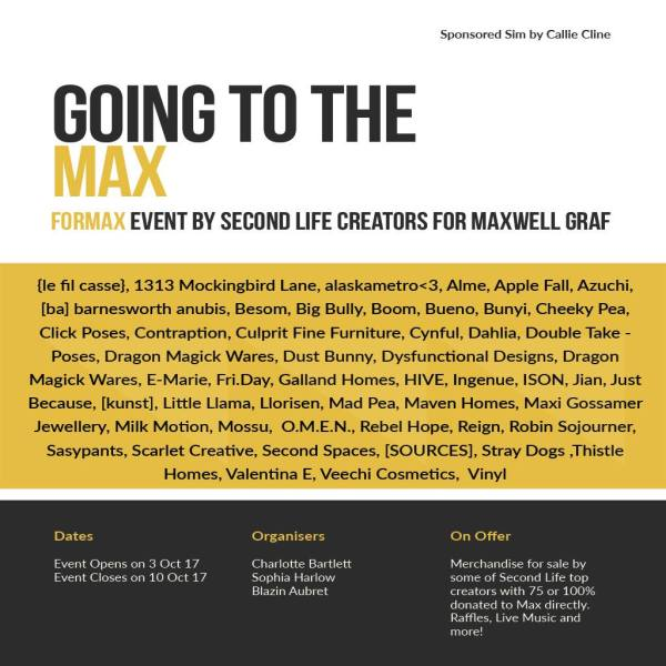 "The current flyer for the ""Going To The Max"" event."