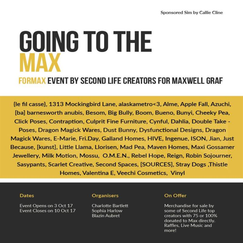 """The current flyer for the """"Going To The Max"""" event."""