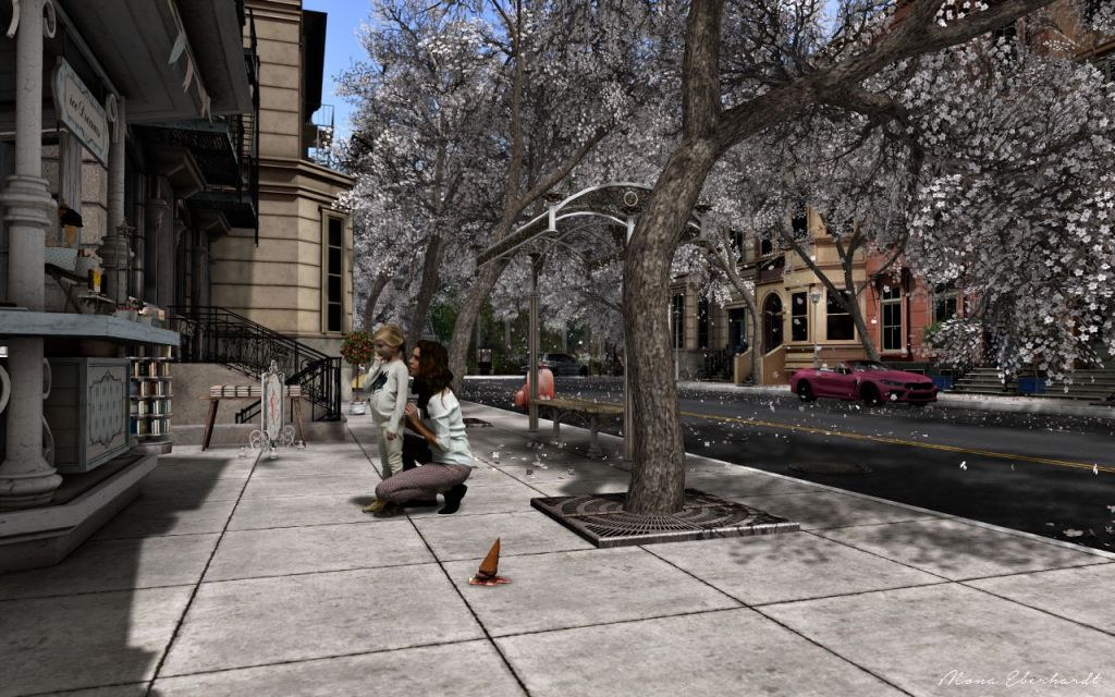 """""""Don't worry, I'll get you another ice cream"""", ChicLand - March 2021  A mother, on her knees, comforting her young daughter in front of an ice cream stand. Before them, an upturned ice cream cone lies on the tree-lined sidewalk."""