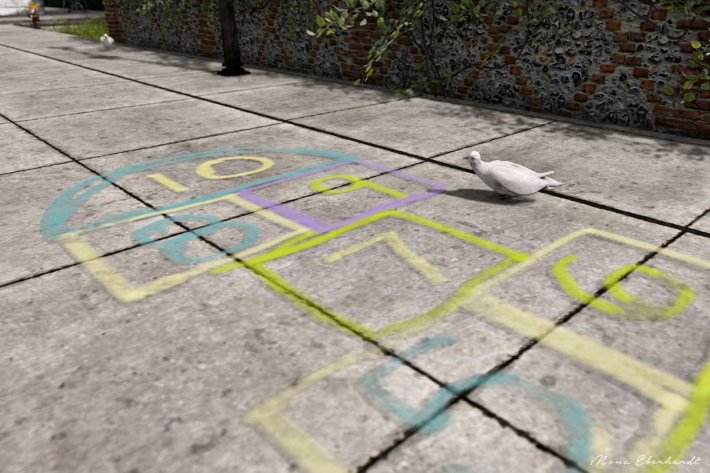 Hopscotch, ChicLand - March 2021  A pigeon  stands on the walkway, looking at the hopschotch markings.