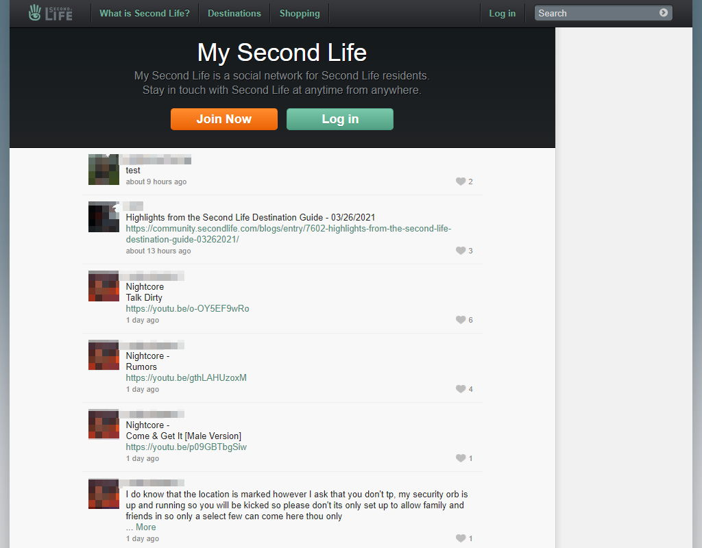 What an outsider sees when visiting the Second Life Feeds' page